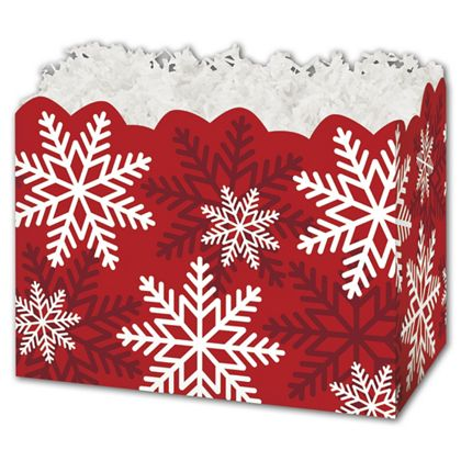 Red & White Snowflakes Gift Basket Boxes, 10 1/4x6x7 1/2""