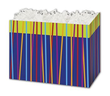 Festive Stripes Gift Basket Boxes, 10 1/4 x 6 x 7 1/2