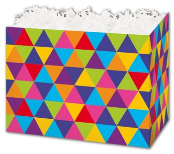 Geo Triangles Gift Basket Boxes, 10 1/4 x 6 x 7 1/2