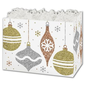 Glittering Ornaments Gift Basket Boxes, 10 1/4x6x7 1/2