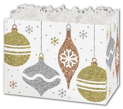 Glittering Ornaments Gift Basket Boxes, 10 1/4x6x7 1/2""