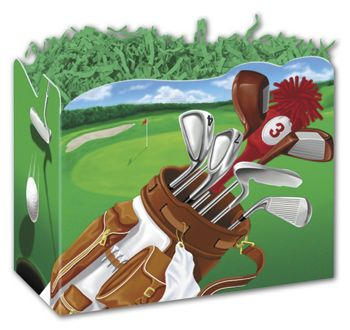 Golf Scene Gift Basket Boxes, 10 1/4 x 6 x 7 1/2