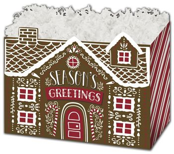 Gingerbread House Gift Basket Boxes, 10 1/4 x 6 x 7 1/2