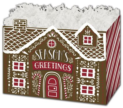"""Gingerbread House Gift Basket Boxes, 10 1/4 x 6 x 7 1/2"""""""