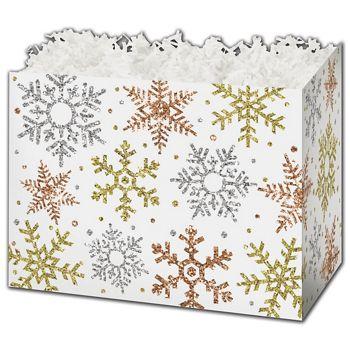 Glitter Snowflakes Gift Basket Boxes, 10 1/4 x 6 x 7 1/2