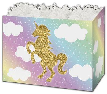 Glitter Unicorn Gift Basket Boxes, 10 1/4 x 6 x 7 1/2