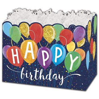 Happy Birthday Balloons Gift Basket Boxes, 10 1/4x6x7 1/2