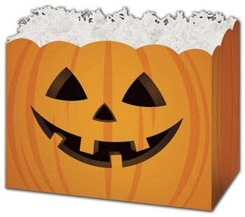 Halloween Pumpkin Gift Basket Boxes, 10 1/4 x 6 x 7 1/2