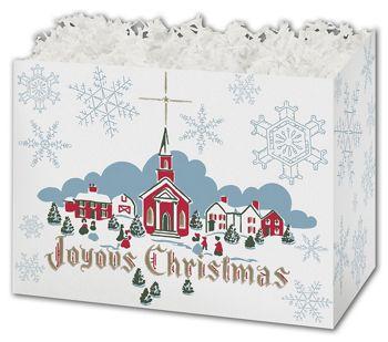Joyous Christmas Gift Basket Boxes, 10 1/4 x 6 x 7 1/2