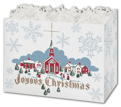 "Joyous Christmas Gift Basket Boxes, 10 1/4 x 6 x 7 1/2"""