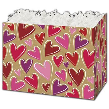 Krafted Hearts Gift Basket Boxes, 10 1/4 x 6 x 7 1/2