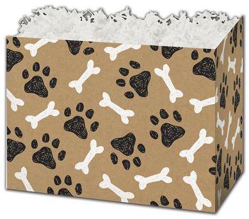 Kraft Paw Prints Gift Basket Boxes, 10 1/4 x 6 x 7 1/2