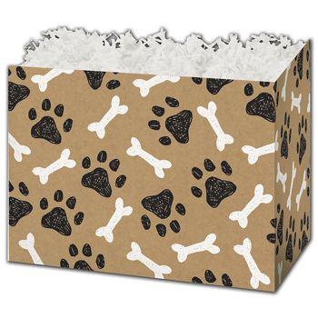 Kraft Paw Prints Gift Basket Boxes, 10 1/4 x 6 x 7 1/2