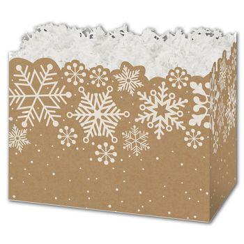 Kraft Snowflakes Gift Basket Boxes, 10 1/4 x 6 x 7 1/2