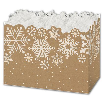 """Kraft Snowflakes Gift Basket Boxes, 10 1/4 x 6 x 7 1/2"""""""