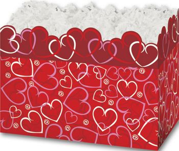 Layered Hearts Gift Basket Boxes, 10 1/4 x 6 x 7 1/2