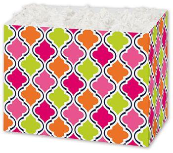 Modern Moroccan Gift Basket Boxes, 10 1/4 x 6 x 7 1/2