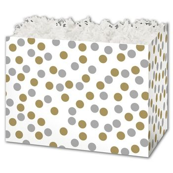 Metallic Dots Gift Basket Boxes, 10 1/4 x 6 x 7 1/2