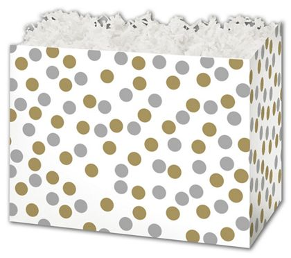 Metallic Dots Gift Basket Boxes, 10 1/4 x 6 x 7 1/2""