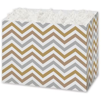 Metallic Chevron Gift Basket Boxes, 10 1/4 x 6 x 7 1/2