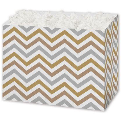 """Metallic Chevron Gift Basket Boxes, 10 1/4 x 6 x 7 1/2"""""""