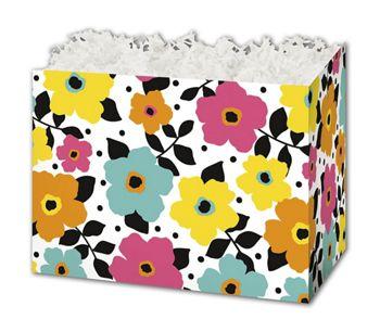 Polka Dot Petals Gift Basket Boxes, 10 1/4 x 6 x 7 1/2