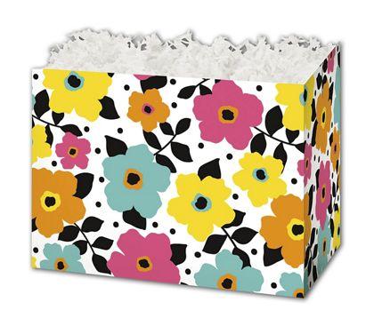 "Polka Dot Petals Gift Basket Boxes, 10 1/4 x 6 x 7 1/2"""