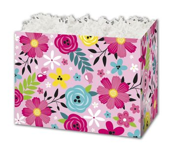 Pink Floral Gift Basket Boxes, 10 1/4 x 6 x 7 1/2