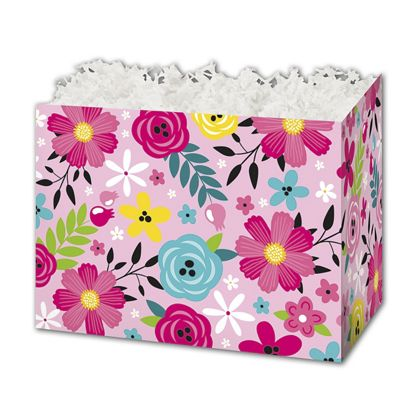 """Pink Floral Gift Basket Boxes, 10 1/4 x 6 x 7 1/2"""""""