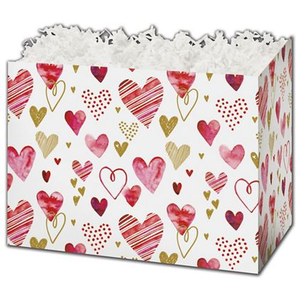 Playful Hearts Gift Basket Boxes, 10 1/4 x 6 x 7 1/2""