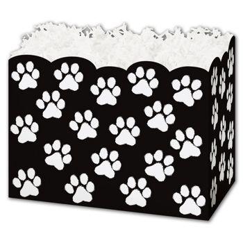 Black Paw Print Gift Basket Boxes, 10 1/4 x 6 x 7 1/2