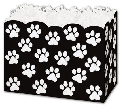 """Black Paw Print Gift Basket Boxes, 10 1/4 x 6 x 7 1/2"""""""