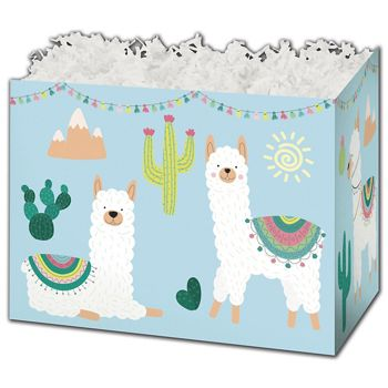 Party Llama Gift Basket Boxes, 10 1/4 x 6 x 7 1/2