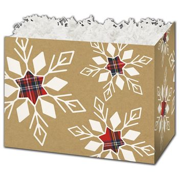 Plaid Snowflakes Gift Basket Boxes, 10 1/4 x 6 x 7 1/2