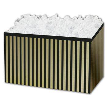 Pinstripe Gift Basket Boxes, 10 1/4 x 6 x 7 1/2