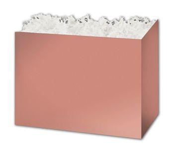 Metallic Rose Gold Gift Basket Boxes, 10 1/4 x 6 x 7 1/2