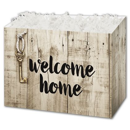 Rustic Welcome Home Gift Basket Boxes, 10 1/4 x 6 x 7 1/2""