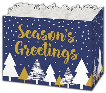 Season's Greetings Gift Basket Boxes, 10 1/4 x 6 x 7 1/2