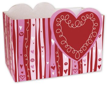 Swirly Hearts Gift Basket Boxes, 10 1/4 x 6 x 7 1/2