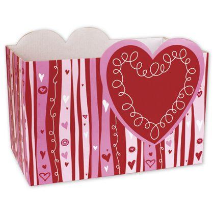 "Swirly Hearts Gift Basket Boxes, 10 1/4 x 6 x 7 1/2"""