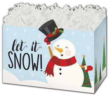 Let it Snowman Gift Basket Boxes, 10 1/4 x 6 x 7 1/2