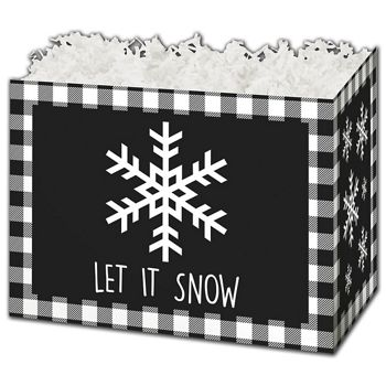 Let it Snow Plaid Gift Basket Boxes, 10 1/4 x 6 x 7 1/2
