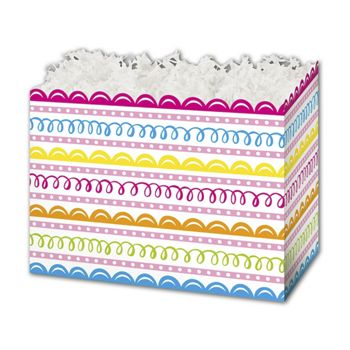 Sweet Swirls Gift Basket Boxes, 10 1/4 x 6 x 7 1/2