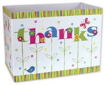 Thanks In Bloom Gift Basket Boxes, 10 1/4 x 6 x 7 1/2