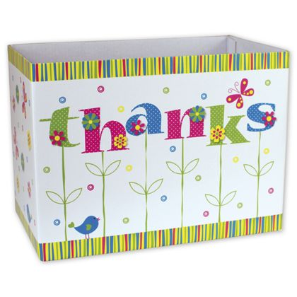 """Thanks In Bloom Gift Basket Boxes, 10 1/4 x 6 x 7 1/2"""""""
