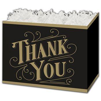 Black & Gold Thanks Gift Basket Boxes, 10 1/4 x 6 x 7 1/2