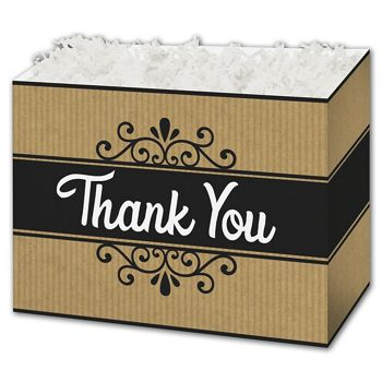 Thank You Kraft Stripes Gift Basket Boxes, 10 1/4x6x7 1/2