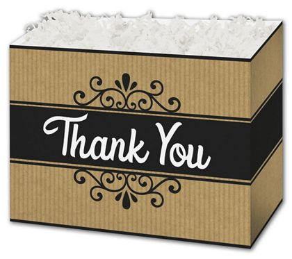 Thank You Kraft Stripes Gift Basket Boxes, 10 1/4x6x7 1/2""