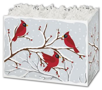 Winter Birds & Berries Gift Basket Boxes, 10 1/4x6x7 1/2