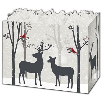 Woodland Deer Gift Basket Boxes, 10 1/4 x 6 x 7 1/2